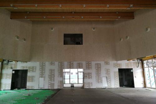 Rivestimento delle pareti con pannelli in fibra di legno ecocompatibili - Oratorio di Rezzato